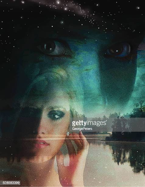 Double Exposure, Woman and Lake