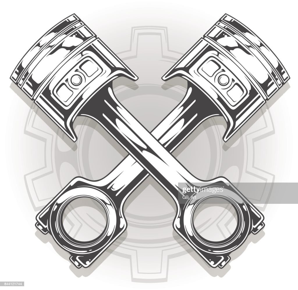 Double graphic black car engine piston