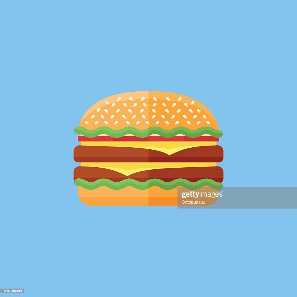 Double hamburger flat icon. Fast food.