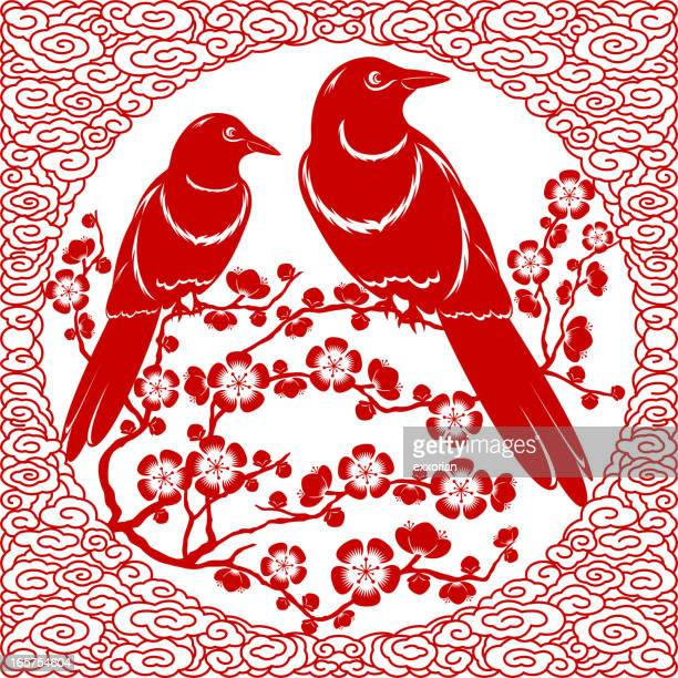 double happiness couple birds paper-cut art - magpie stock illustrations