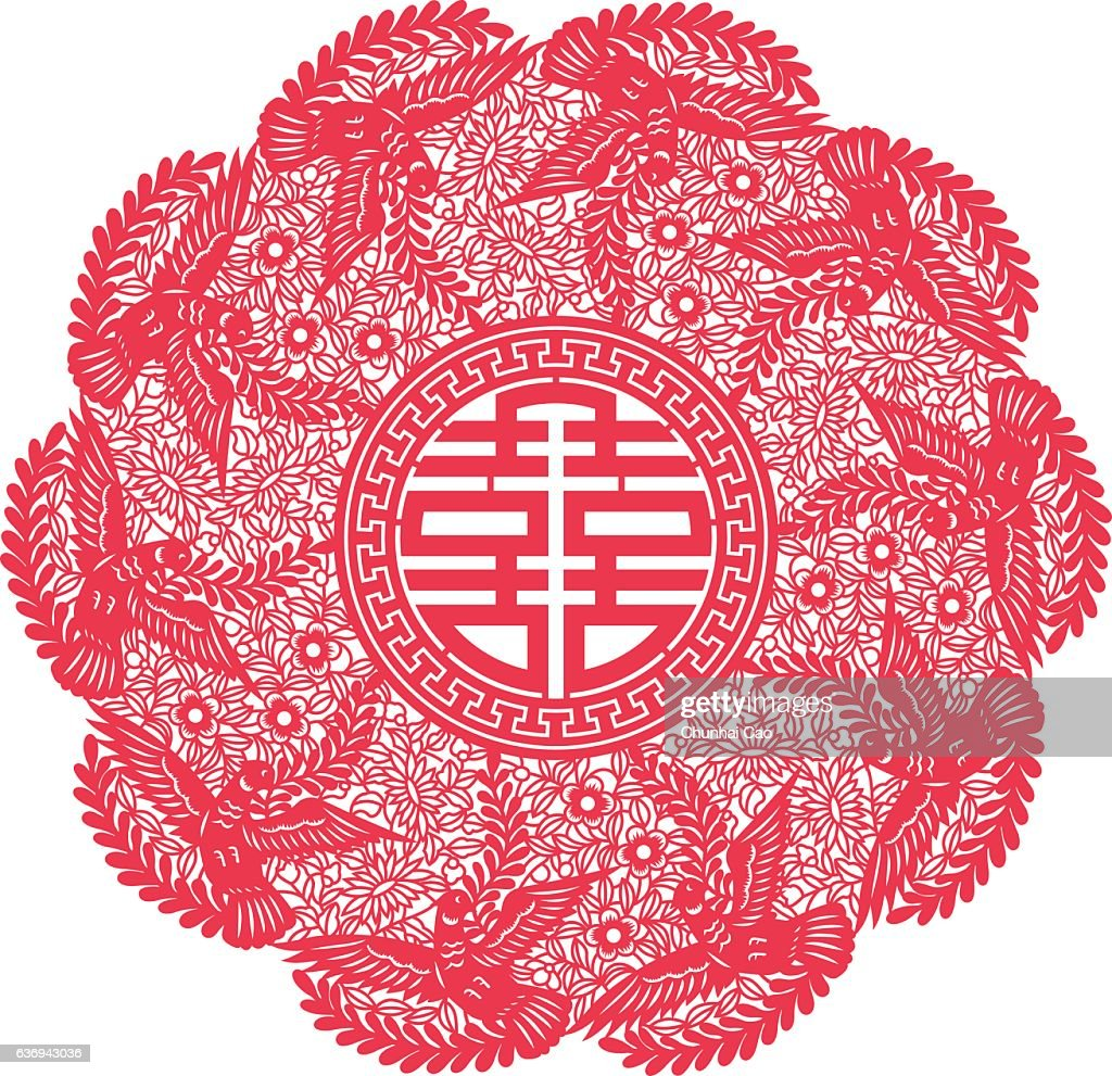Double Happiness(Chinese traditional paper-cut art)
