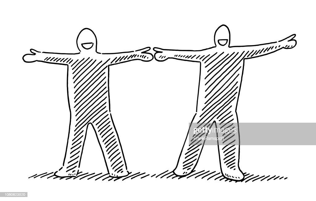 Doppelte Menschenfigur Twin Konzept Zeichnung : Vektorgrafik