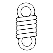 Double spring coil icon, outline style