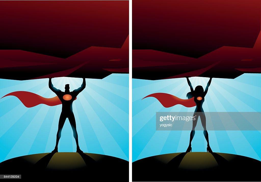 Double superheroes lift a heavy rock : stock illustration