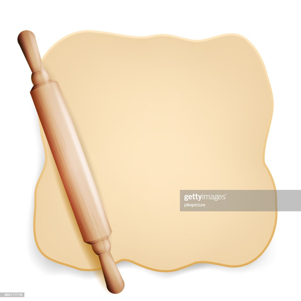 Dough Vector. Rolling Pin. Dough For Pizza Or Bread. Brochure Element. Isolated Illustration