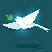 Dove bird and branch flat style illustration. Symbol of peace