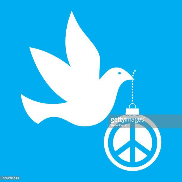 dove carrying peace sign ornament - peace stock illustrations, clip art, cartoons, & icons