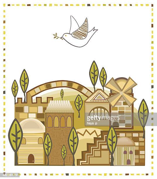dove flying above jerusalem - passover stock illustrations