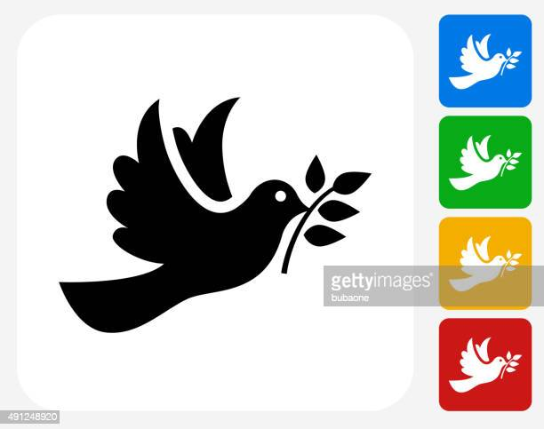 dove icon flat graphic design - olive branch stock illustrations