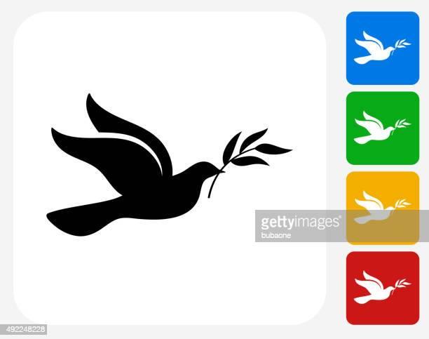 ilustraciones, imágenes clip art, dibujos animados e iconos de stock de dove iconos planos de diseño gráfico - paloma blanca