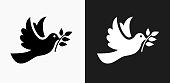 Dove Icon on Black and White Vector Backgrounds
