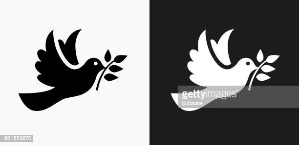 dove icon on black and white vector backgrounds - peace sign stock illustrations, clip art, cartoons, & icons