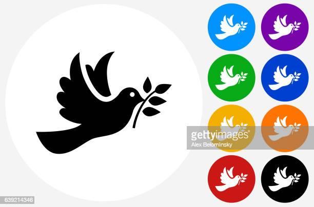 ilustraciones, imágenes clip art, dibujos animados e iconos de stock de dove icon on flat color circle buttons - paloma blanca