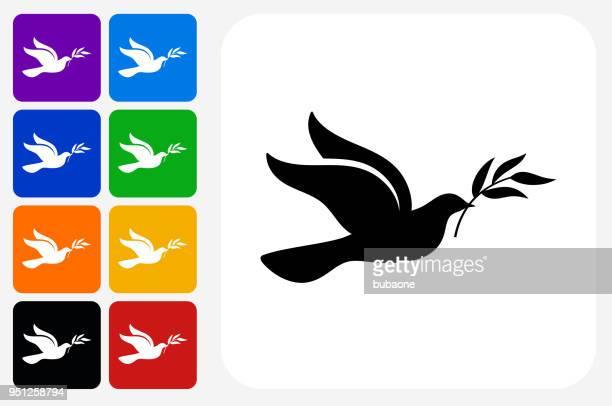 ilustraciones, imágenes clip art, dibujos animados e iconos de stock de paloma icono cuadrado botón set - paloma blanca