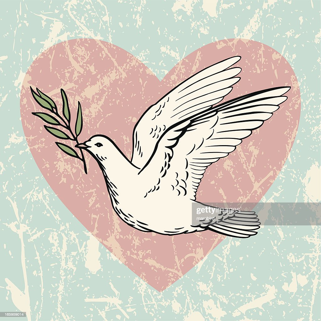 Dove of Peace with an Olive Branch : Stock Illustration