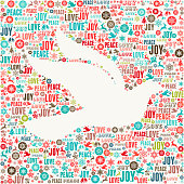 Dove on Holiday Christmas Background Pattern