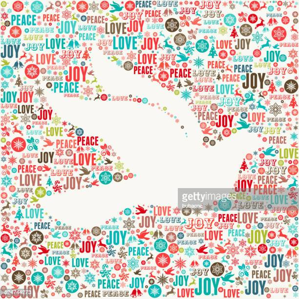dove on holiday christmas background pattern - peace sign stock illustrations, clip art, cartoons, & icons