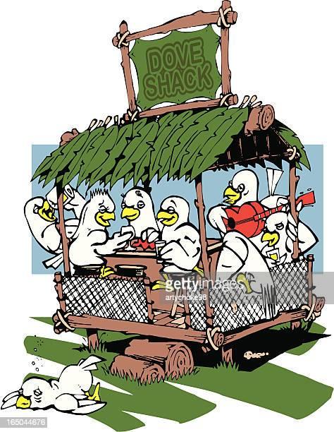 dove shack/love shack - grass hut stock illustrations