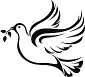 Dove. Symbol of peace. Vector black silhouette.