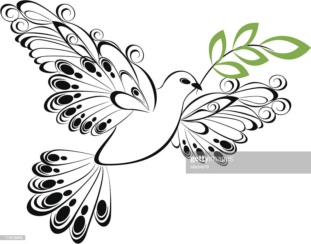 Dove Whit Olive Branch Symbol Of Peace And Unity Vector Art Getty