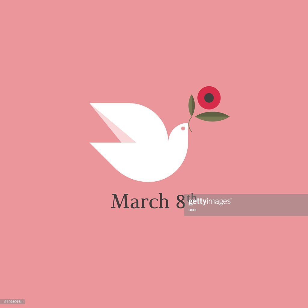 Dove with flower. International Women's Day card