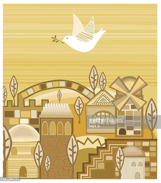 dove with olive branch flying above  jerusalem of gold - jerusalem stock illustrations, clip art, cartoons, & icons