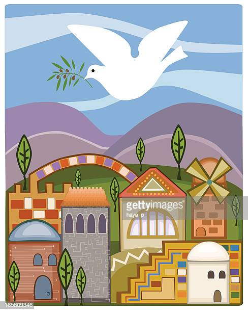 dove with olive branch flying above jerusalem - passover stock illustrations