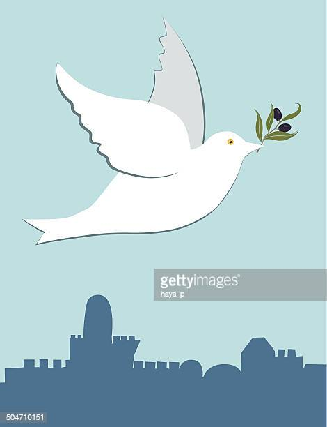 dove with olive branch - passover stock illustrations