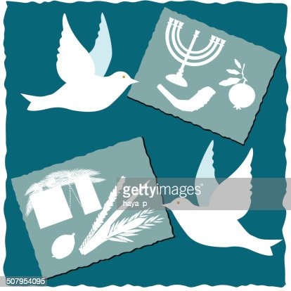 Dove With Postcard Symbols Of Jewish Holidays Vector Art Getty Images