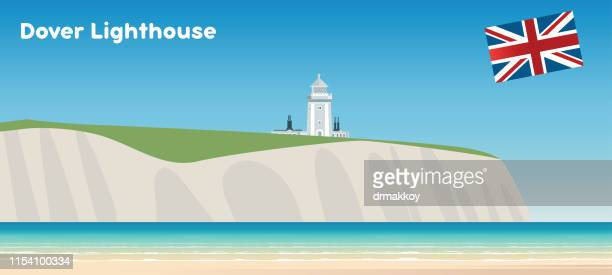 dover lighthouse - dover england stock illustrations