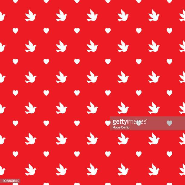 Doves And Hearts Seamless Pattern