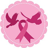Doves and Symbol of Breast Cancer Awareness Ribbon