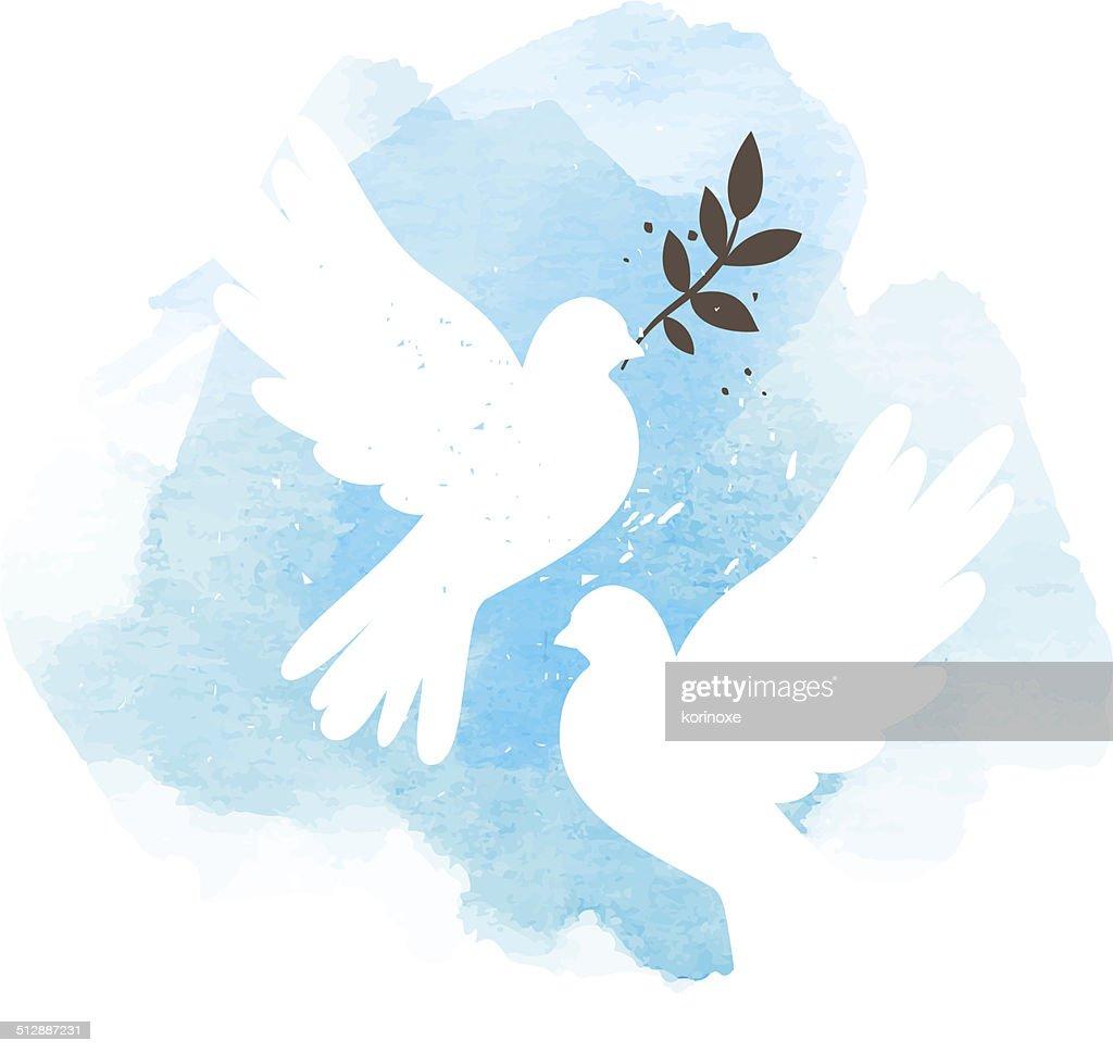Doves on blue background