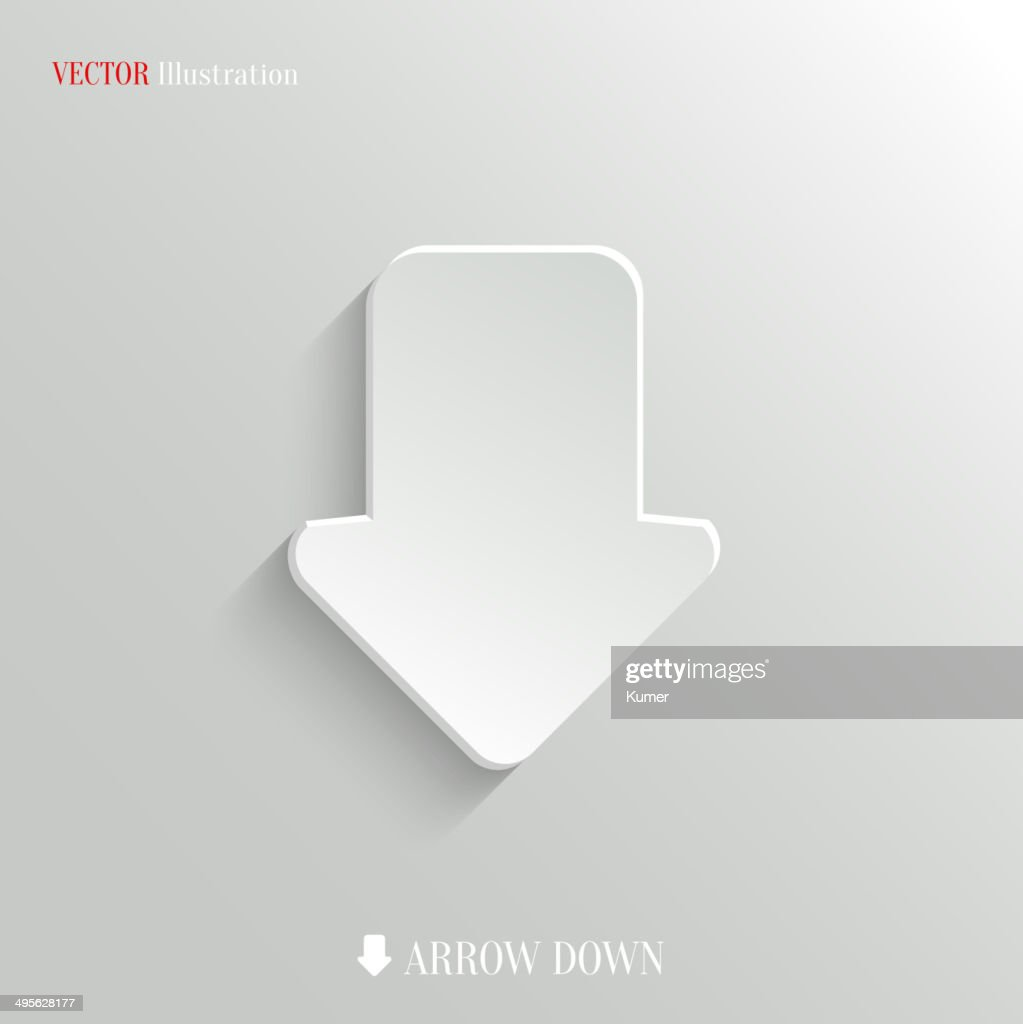 Down arrow icon - vector web background
