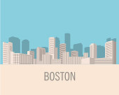 Down town American landscape with skyscrapers and high-rise buildings in flat style a vector.