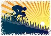 Downhill racing cyclist