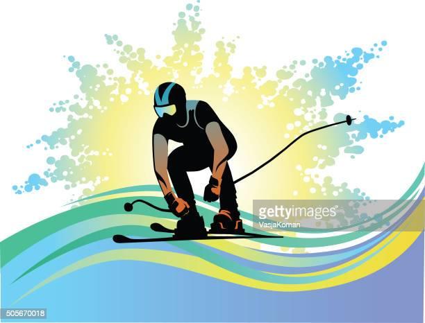 downhill skier on grunge background - silhouette - ski racing stock illustrations