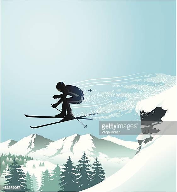 downhill skier - ski slope stock illustrations, clip art, cartoons, & icons
