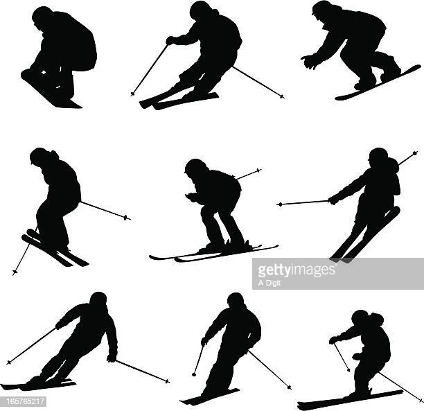 downhillskiers - ski slalom stock-grafiken, -clipart, -cartoons und -symbole
