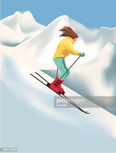 downhill skiier - ski slope stock illustrations, clip art, cartoons, & icons