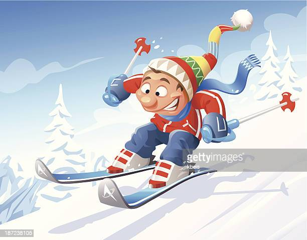 downhill skiing - ski slope stock illustrations, clip art, cartoons, & icons