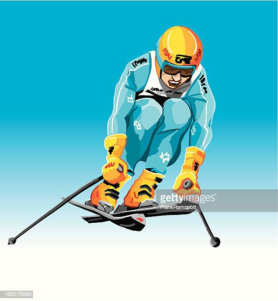 downhiller jump - ski goggles stock illustrations, clip art, cartoons, & icons