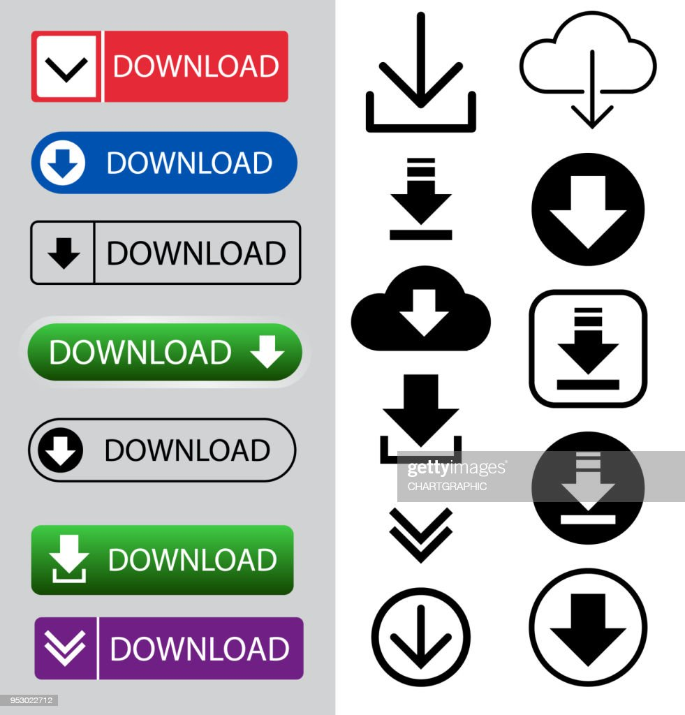 download button and icon set for internet sign symbol