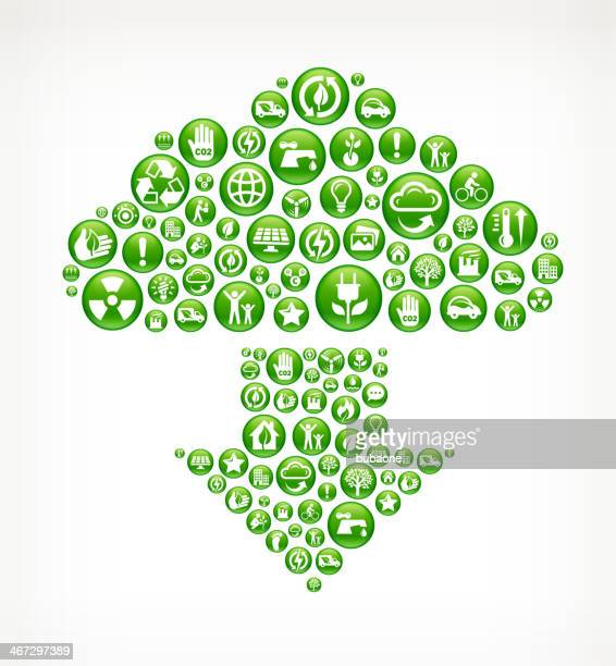 Download Cloud with Green Energy Buttons