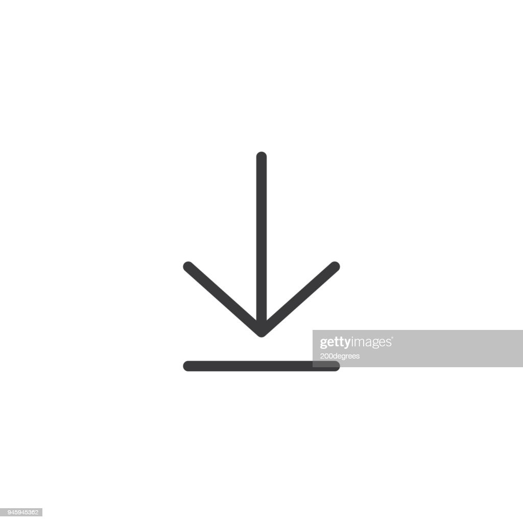 Download icon. Arrow down isolated perfect pixel with flat style in white background for UI, app, web site, logo. Vector illustration.