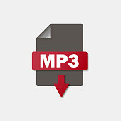 MP3 download icon on background. MP3 button .