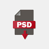 PSD download icon on background. PSD button .