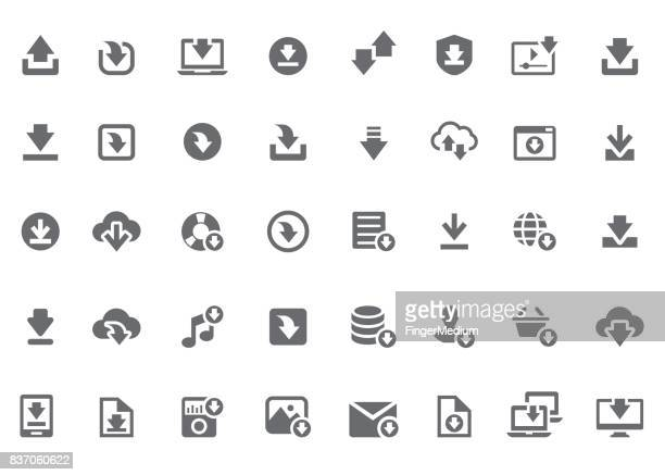 download icon set - stream stock illustrations