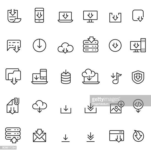 download-symbol set - mobiles gerät stock-grafiken, -clipart, -cartoons und -symbole