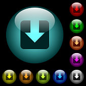 Download icons in color illuminated glass buttons
